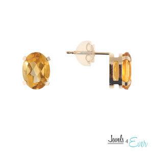 10K Gold Stud Earrings with Genuine Citrine